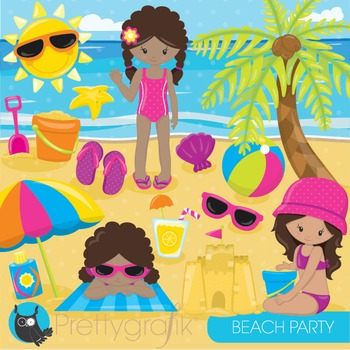 Beach party clipart commercial use, graphics, digital clip