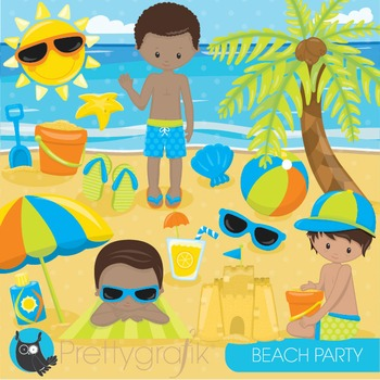 Beach party clipart commercial use, graphics, digital clip art - CL852
