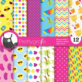 Beach party digital paper, commercial use, scrapbook paper