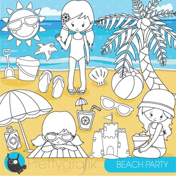 Beach party stamps commercial use, vector graphics, images - DS849