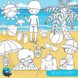 Beach party stamps commercial use, vector graphics, images - DS850