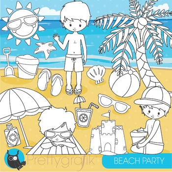 Beach party stamps commercial use, vector graphics, images