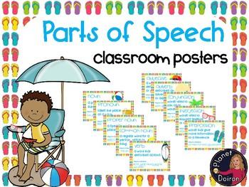 Beach theme Classroom Parts of Speech wall posters Grammar