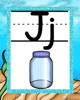 Beach theme with Glitter ALPHABET POSTERS