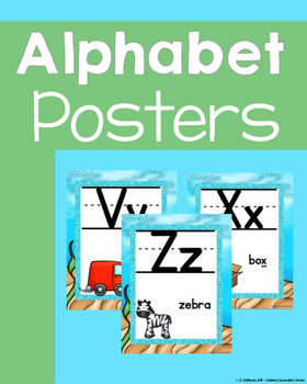 Beach theme with Glitter ALPHABET POSTERS with words