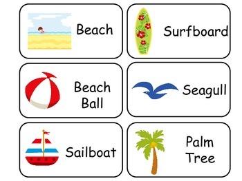 Beach themed Picture Word Flash Cards. Preschool flash car