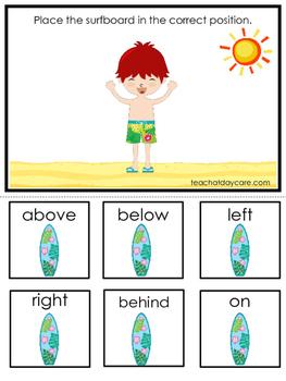 Beach themed Positional Game.  Printable Preschool Curriculum Game