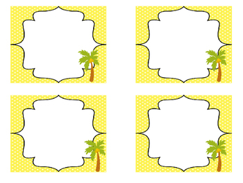 Beach themed Printable Blank Label Cards. Class Accessories.