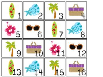 Beach themed Printable Calendar Pieces Classroom Bulletin