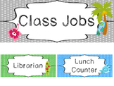 Beach themed Printable Class Jobs Labels Classroom Bulletin Board Set.