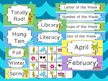 Beach themed Printable Classroom Accessories and Decor Bulletin Board Sets