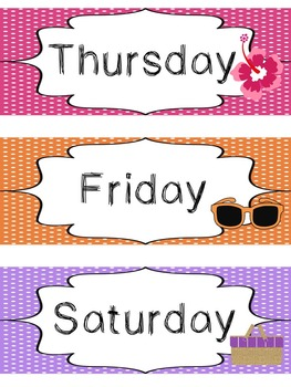 Beach themed Printable Days of the Week Classroom Bulletin Board Set. Class Acce