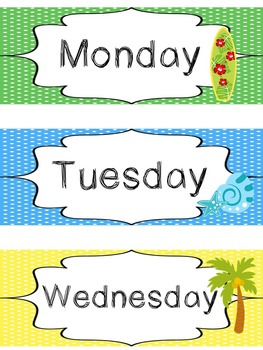 photo about Printable Days of the Week referred to as Seaside themed Printable Times of the 7 days Clroom Bulletin Board Fixed. Cl Acce
