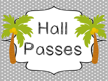Beach themed Printable Hall Pass Sign and Hall Passes. Classroom  Management.