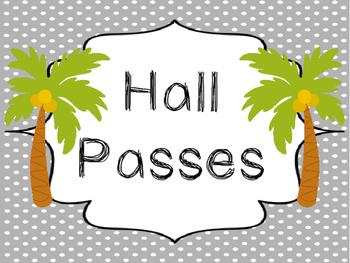 Beach themed Printable Hall Pass Sign and Hall Passes. Cla