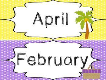 Beach themed Printable Month Classroom Bulletin Board Set. Class Accessories.