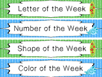 Beach themed Printable Weekly Focus Bulletin Board Set. Cl