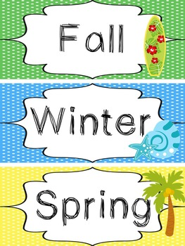 Beach themed Printable What Is the Season Bulletin Board Set. Class Accessories.