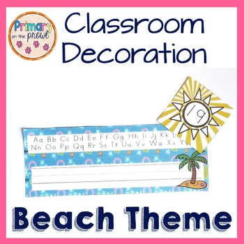 Beach themed classroom decoration set