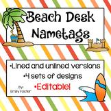 Beach themed desk nameplates with EDITABLE version