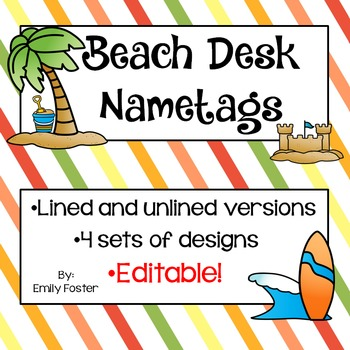 Beach themed desk nameplates with EDITABLE version