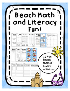 Beach themed math and reading activities end of the year review day
