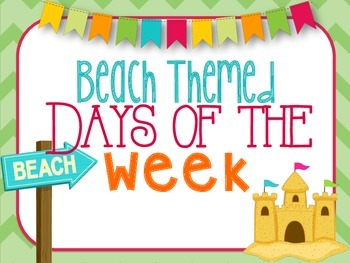 Beach/Ocean Themed Days of the Week (Today is, Yesterday was, Tomorrow will be)