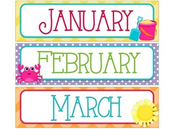 Beach/Ocean Themed Months of the Year & Calendar Number Cards
