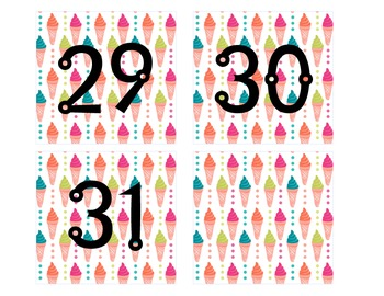 Beach/Summer Themed Calendar Numbers 1-31
