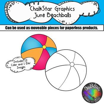 Beachballs June Clip Art –Chalkstar Graphics