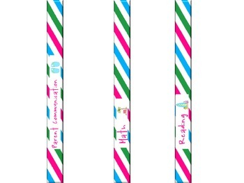 Beached Themed Binder Covers & Spine Inserts With Blue, Pink & Green Stripes: