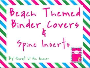 Beached Themed Binder Covers & Spine Inserts With Blue, Pi