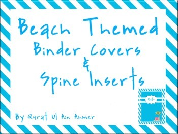 Beached Themed Binder Covers & Spine Inserts With Blue Stripes: