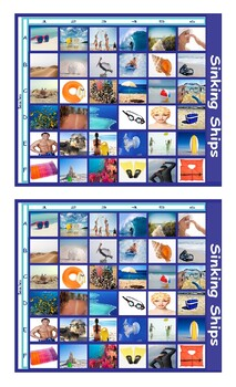Beach Things and Activities Legal Size Photo Battleship Game