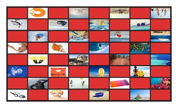 Beach Things and Activities Legal Size Photo Checkerboard Game