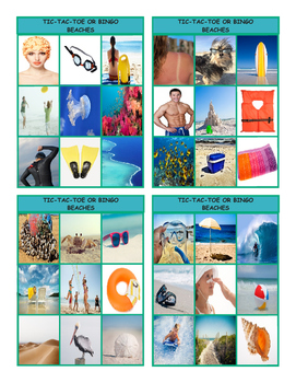 Beaches Tic-Tac-Toe or Bingo