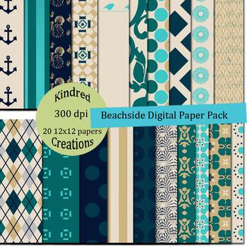 Beachside 12x12 Digital Paper Pack
