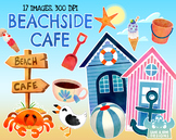 Beachside Cafe Watercolor Clipart (Lime and Kiwi Designs)