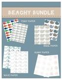 Digital Papers & Borders: Beachy Bundle