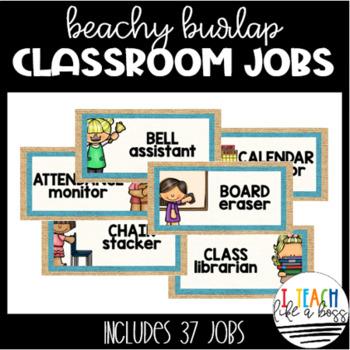 Beachy Burlap Classroom Jobs