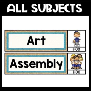 Beachy Burlap School Schedule Cards {Editable}