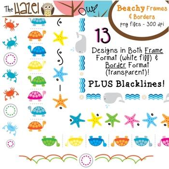 Beachy Frames & Borders Set: Beach / Summer Themed Graphics for Teachers