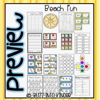 Beachy Fun- Math and Literacy Centers with Common Core Standards Included!
