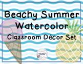 Beachy Summer Watercolor Classroom Decor Set