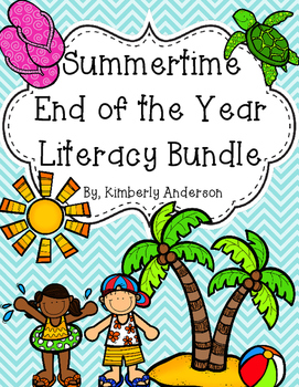 Beachy - Summertime - End of the Year: Literacy Center Bundle (((8 Centers!!)))