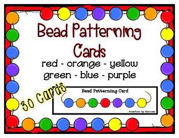 Bead Patterning Strip Cards - 45 patterns - Fine Motor Fun Pre-k Kinder SpEd
