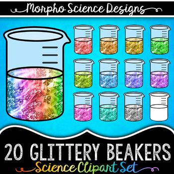 Beaker Clipart - Glitter Texture - Includes Solid & Gradient Colors!