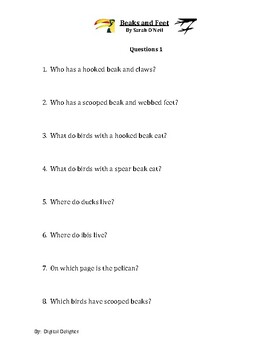 Beaks and Feet by Sarah O'Neil Reading Comprehension Questions