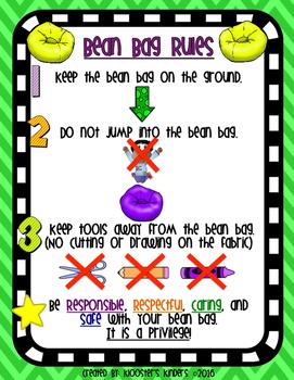 Bean Bag Rules Poster - Flexible / Alternative Seating