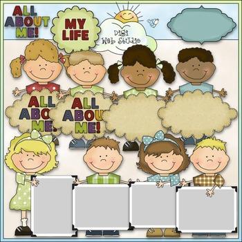 Bean Pole Kids: All About Me Clip Art - CU Colored Clip Art